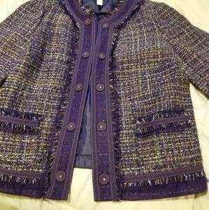 Chico's Purple 3/4 Sleeve Tweed Jacket